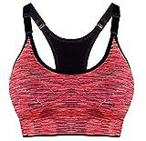 ILOVEDIY Sujetador Deportivo Con Relleno Push up para Yoga Correr Fitness (L, Rojo)