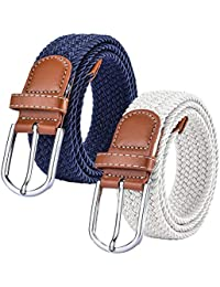 Chalier 2x Ceintures Femme Homme Elastiques Belt Tressées Extensible pour  Jeans Robe Pantalons avec Boucle cafe8d0db41