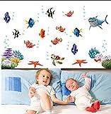 Zuolanyoulan Fische Wasserwelt im Ozean Unterwasserwelt Hai Fisch Meerestiere Wandsticker Wandaufkleber Raum Dekor Wall Sticker
