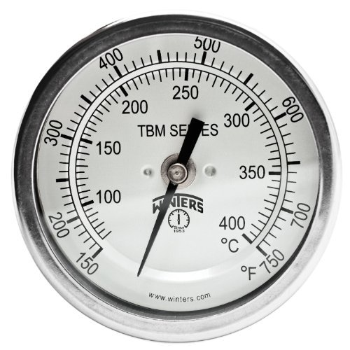 Npt Back Mount (Winters TBM Series Stainless Steel 304 Dual Scale Bi-Metal Thermometer, 9 Stem, 1/2 NPT Fixed Center Back Mount Connection, 3 Dial, 150-750 F/C Range by Winters)