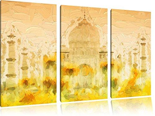 Taj Mahal in estate pennello effetto immagine Canvas 3 PC 120x80 immagine sulla tela, XXL enormi immagini completamente Pagina con la barella, stampe d