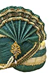 """MPG3092 Turban Indienne Turquoise / Cornsilk / Pagri Indian Bollywood Fancy Dress 22"""" Head Circumference"""