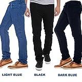 Stylox Stylish Regular Slim Fit Pack Of 3 Cotton Jeans For Men-Light Blue/Dark Blue/Black