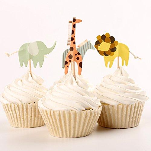 Fumee niedliche Tiere Dessert Muffin Cupcake Topper für Picknick Hochzeit Baby Dusche Geburtstag Server, 24Teile Zoo