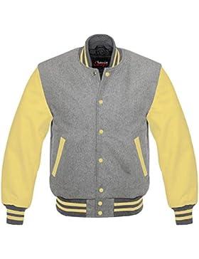 Los hombres de Varsity–Real Leather/WOOL Letterman chaqueta gris w/amarillo piel mangas Regular)