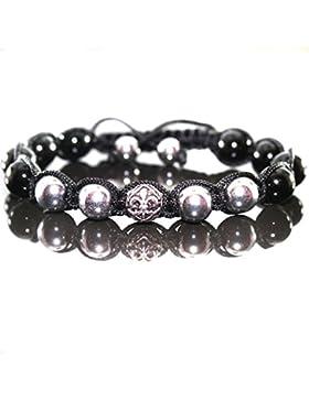 Herren Onyx Shamballa Armband Armreifen mit Antik Silber Beads für Männer verstellbar