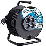 Electraline 49028 Prolunga elettrica con avvolgicavo, 50 m, 4 prese polivalenti (schuko + 10/16A) spina grande 16A, con protezione, nero
