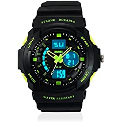 SKMEI Analog-Digital Gold Dial Men's Watch-AD0955 (BK GREEN)