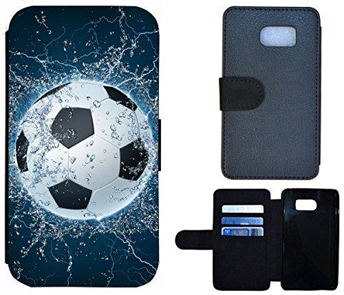 Flip Cover Schutz Hülle Handy Tasche Etui Case für (Apple iPhone 5 / 5s, 1391 Fussball Fußball Schwarz Weiß Blau) 1391 Fussball Fußball Schwarz Weiß Blau