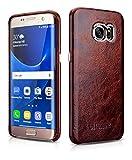 Luxus Back-Cover für Samsung Galaxy S7 EDGE (5.5 Zoll) / SM-G935 / Case Außenseite aus Echt-Leder / Schutz-Hülle mit Innenseite aus Textil / ultra-slim Etui / Tasche im Vintage Look / Farbe: Dunkel-Braun