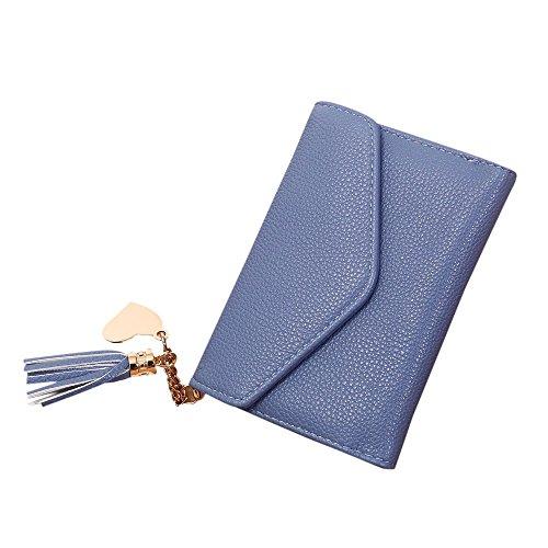 Piebo Damen Clutch Handschlaufe Handtasche Schultertasche Unterarmtasche PU Leder Quasten Damentasche (13cm×9.5cm, Blau)