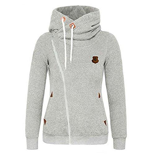Seamido Femmes à manches longues pour les Sweatshirt chaud Hoodie casual gris clair