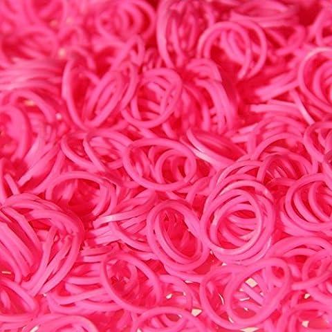 ETHAHE 600 Loom Rubber Bands Elastiques Roses Bracelet à Tricoter sans Latex avec 24 C-Attaches
