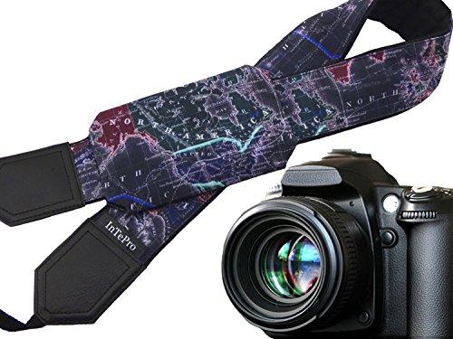 Schwarz Weltkarte Kameragurt. DSLR/SLR Kamera Gurt mit Pocket. Kamera Zubehör. Tolles Geschenk für photographer. Code 00319 (Weltkarte Cap)