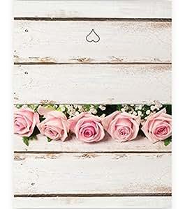 Kigima Tischkarten Hochzeit Verlobung Feiern romantisch rosa Rosen 50 Stück