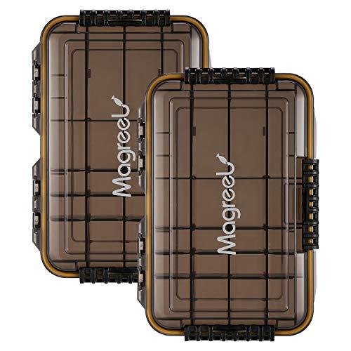 Magreel Angelkoffer leer wasserdicht Angelzubehör 3600 Köderbox Angelbox Teefarbene transparente Aufbewahrungsbox Angelkasten für Angel Zubehör mit DIY- Trennwände, 2 Stück
