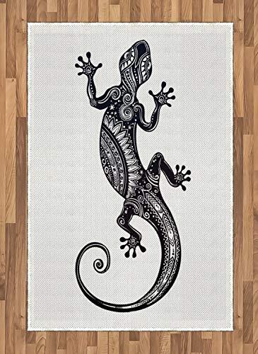 ABAKUHAUS Gecko Teppich, Blume Chevron Eidechsen, Deko-Teppich Digitaldruck, Färben mit langfristigen Halt, 120 x 180 cm, Hellgrau Weiß und Schwarz (Chevron Läufer Teppich Schwarz)