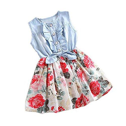 Minetom Sommer Kleinkind Baby Mädchen Blumenkleid Denim Bowknot Drucken Ärmellos Prinzessin Kleidung Partei Kleider Mehrfarbig 100 (Leinen-pants Gestreifte)