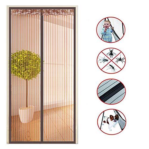 XMZFQ Magnetgittertür mit strapazierfähigem Mesh-Vorhang und durchgehendem Klettverschluss, einfache Installation, Keine Lücke, Keine Wanze Hunde Kinderfreundlich,E,130 * 220cm(W*H