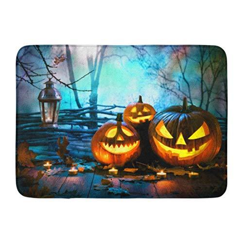 shyly Fußmatten Badteppiche Outdoor/Indoor-Fußmatte Blue Fun Halloween-Kürbisse auf Holz vor nächtlichen gruseligen Waldorange-Nacht-Badezimmerdekor-Teppich 23,6 (L) x 15,7 (W) Zoll
