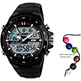 TTLIFE 1016 Unisex Mens Women Multifunctional LED Analog-Digital Display Dual Times Outdoor Sports Watch Water Resistant