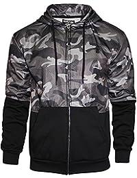 e7823a0f395e9 Mens Soulstar Camouflage Hoodie Camo Zip Up Hooded Sweatshirt Jacket