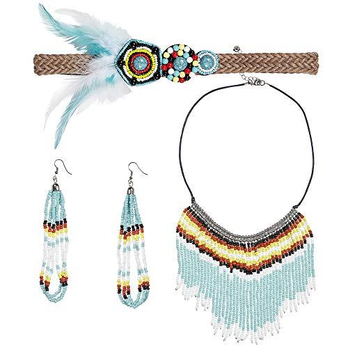 Widmann - Indianerin 3-teiliges Schmuckset (Indianer Kostüm Schmuck Ohrringe)