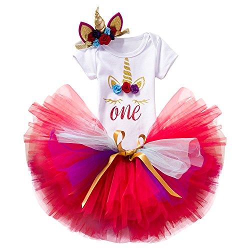 NNJXD Mädchen Einhorn Blume Regenbogen Tutu 1. Geburtstag 3 Stück Outfits Strampler +Rock+ Gold Stirnband Größe (1) 1 Jahre Rot