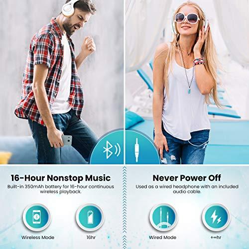 Bluetooth Kopfhörer, ELEGIANT Multifunktion Bluetooth 4.1 Wireless Stereo Headset Wiederaufladbare drahtlose Kopfhörer Ohrhörer Hohe Qualität On Ear Kopfhörer Freisprechfunktion + Mic/3,5mm Audio AUX Kompatibel mit Handys iPhone 7 6 6plus iPad Samsung HTC LG Laptops Tablets Smartphone und andere Bluetooth Geräte - 3