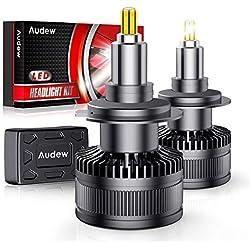 Audew 2PCS Ampoule H7 LED, 10000LM Phares pour Voiture 6 Faces 36SMD 360° CHIP Lampe LED Auto 6000K Blanc 12V 60W IP68 Imperméable Remplace les Lampes Halogènes et Xénon