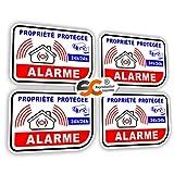 Sticker Alarme Vidéo-Surveillance Autocollant (Lot de 4 Stickers) (Modèle 1 (Lot de...