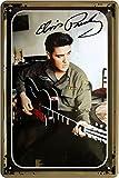 Blechschild 20x30 cm Elvis Presley Gitarre Autogramm King of Rock n Roll US Musiker Bar Metall Schild