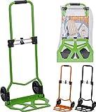 Sackkarre zusammenklappbar für max 70 kg Güter Transport-Trolley mit Teleskop-Griff - Handkarren mit großen Rollen als Gepäck-Trolley für Umzug, Einkauf und Auto Farbe: Orange