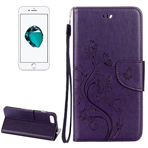 Hülle für iPhone 7 plus , Schutzhülle Für iPhone 7 Plus Blumen Prägung Horizontale Flip Leder Tasche mit Halter & Card Slots & Wallet & Lanyard ,hülle für iPhone 7 plus , case for iphone 7 plus ( Colo Purple