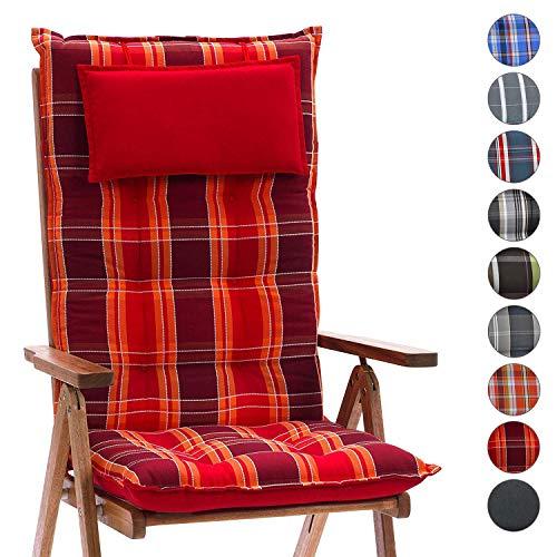 Homeoutfit24 Sun Garden Gartenstuhl-Auflage (120 x 50 x 9 cm) Sylt, Hochlehner Auflage mit abnehmbarem Kopfpolster in Rot kariert 6er Set