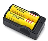 Worldoor ® New arrival 2Pcs 3.7V 18650 5000mah Rechargeable Lithium Battery with 18650 battery Charger Yellow