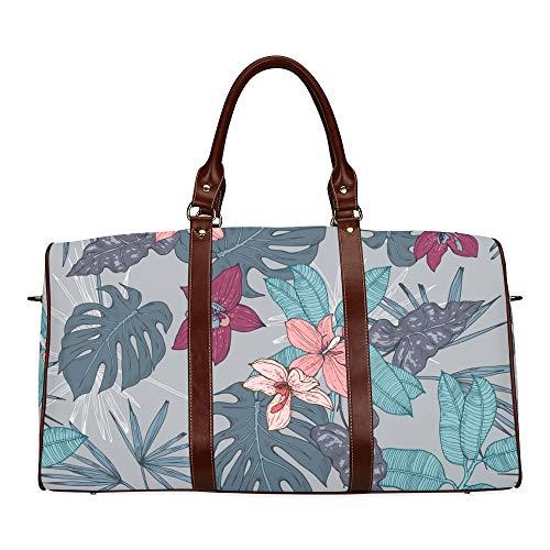 Reise Seesack Orchidee Blume Aquarell wasserdichte Weekender Tasche Übernachtung Carryon Handtasche Frauen Damen Einkaufstasche Mit Mikrofaser Leder Gepäcktasche