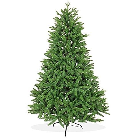 Spritzguss Weihnachtsbaum künstlich 210cm in Premium Spritzguß Qualität, grüne Nordmanntanne, künstlicher Tannenbaum mit PE Kunststoff Nadeln, wie echt wirkend, Nordmannstanne
