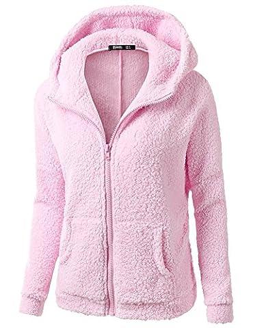 Minetom Frauen Damen Montana Mikro Fleece Jacke Kapuze Pullover Kuschelig Warm Zipper Hoodie Outwear Oberteile Rosa DE 36
