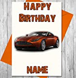 Sport Aston Martin Personalisierte Geburtstagskarte–Jeder Name und Alter Druck auf der Vorderseite