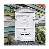 Europäischen klassischen Villa Mailbox Pastoral Retro Wand Briefkasten Wasserdicht Outdoor Mailbox mit Schloss Barock Sun weiß