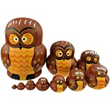 Cute Cartoon Big Belly Shape Brown Owl With Orange Round Eyes Handmade Wooden Russian Nesting Dolls Matryoshka Dolls Set 10 Pieces For Kids Toy Birthday Christmas Gift Home Decoration