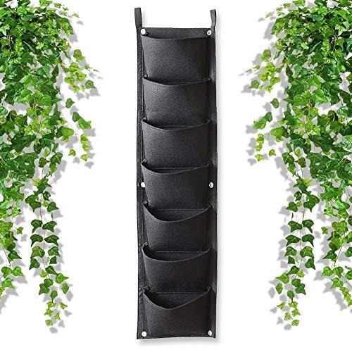 Ljlpropyh Recipientes para Plantas y Accesorio Jardín Vertical Colgante, Bolsa de siembra de 7 Bolsillos Ventana de Pared Maceta Macetero Interior al Aire Libre for Patio Jardín Inicio (Negro)