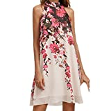 West See Damen Kleid Sommer Casual Elegant Floral Sleeveless Hohe Kragen A-Linie Lose Minikleid Strand Party Ball