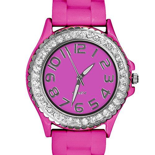 Taffstyle Damen Armbanduhr Sportuhr Silikon mit Strasssteinen und Silikonarmband Designer Sport Analog Uhr Pink