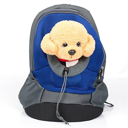 Bigwing style zaino per cane borsa trasportino marsupio di cintura regolabile e gancio per il collare comoda bella e molto pratica per cane gatto blu l