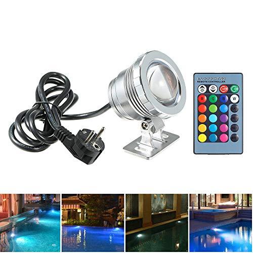 Lixada AC85-265V 10W RGB LED Unterwasserlicht Tauchlampe mit Fernbedienung 16 Farben 4 Lichteffekte IP68 Wasserdicht Design für Pool Aquarium Brunnen Halloween Weihnachten Festival Hochzeitsfunktion