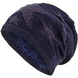 Compagno Sternen Wintermütze warm gefütterte Beanie Flechtmuster Einheitsgröße Mütze, Farbe:Marineblau