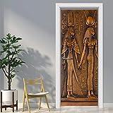 Powcan Adesivo Porta 3D Egyptian Pharaoh Door Murale Carta da Parati murale Wall Print Decal Wall Deco Adesivo murale Decorazione per poster di decorazioni per ufficio fai-da-te, 77 X 200 cm