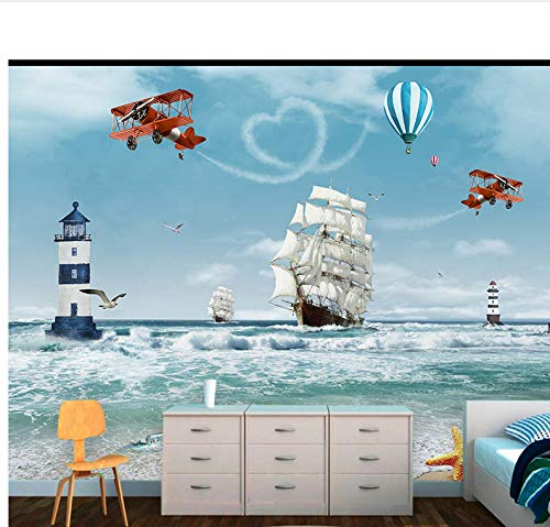 Weaeo WallpapersCustom Modern Foto Wandbild Kinder 3D Cartoon Ozean Meer Boot Hubschrauber Nordischen Stil Für Schlafzimmer Kinderzimmer-450X300Cm (450 3d Hubschrauber)